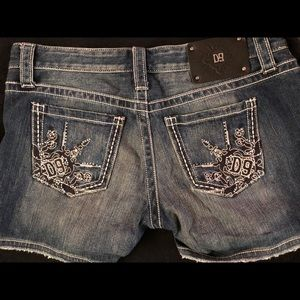 New D9 Denim blinged/embroidered denim shorts